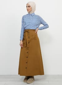 Mustard - Unlined - Cotton - Skirt