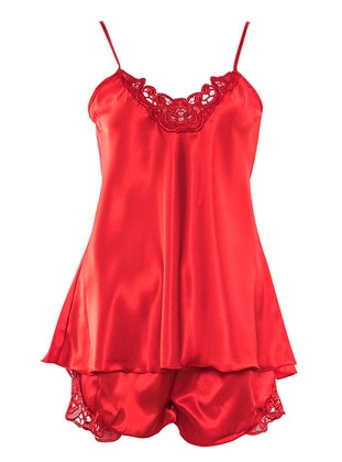 Red - V neck Collar - Nightdress