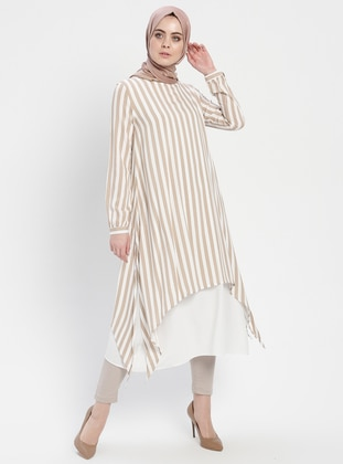 White - Ecru - Cream - Stripe - Crew neck - Viscose - Tunic