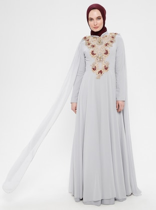 Gray - Cherry - Fully Lined - Crew neck - Muslim Evening Dress