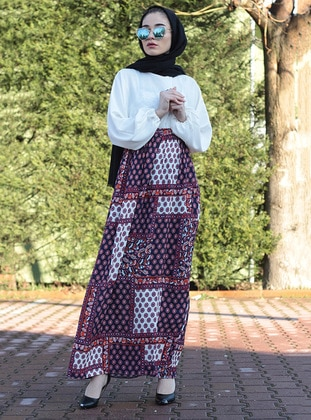 White - Floral - Unlined - Crew neck - Abaya