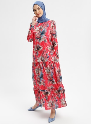 Coral - Multi - Crew neck - Fully Lined - Dresses