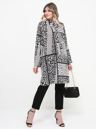 Black - White - Multi - Polo neck - Plus Size Tunic - Alia