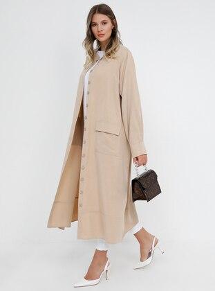 Beige - Camel - Unlined - Button Collar - Cotton - Plus Size Coat