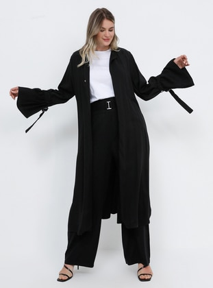 Black - Unlined - Cotton - Plus Size Coat
