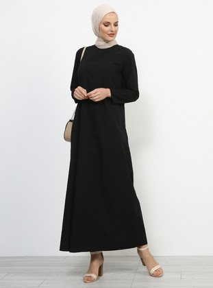 Black - Crew neck - Unlined - Cotton - Dress
