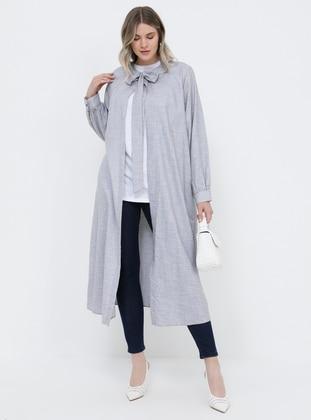 Black - White - Unlined - Crew neck - Cotton - Plus Size Coat