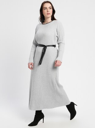 Gray - Crew neck - Unlined - Viscose - Plus Size Dress