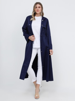 Navy Blue - Unlined - Cotton - Plus Size Coat - Alia