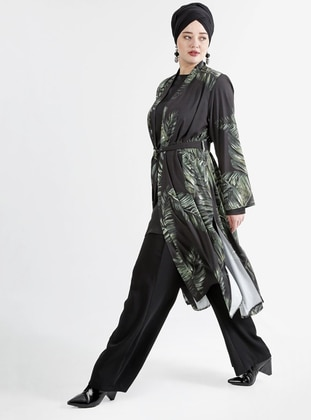 Green - Black - Multi - Crew neck - Fully Lined - Plus Size Suit