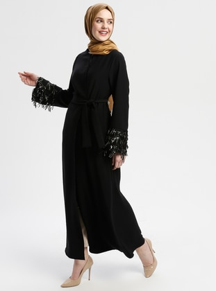 Black - Gold - Unlined - Crew neck - Abaya