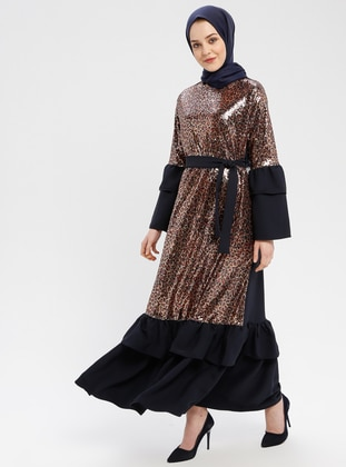 Navy Blue - Brown - Leopard - Unlined - Crew neck - Muslim Evening Dress