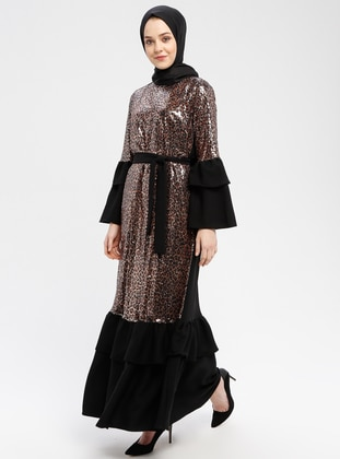 Black - Brown - Leopard - Unlined - Crew neck - Muslim Evening Dress