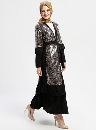Black - Beige - Unlined - V neck Collar - Abaya