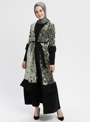 Black - Gold - Unlined - V neck Collar - Abaya