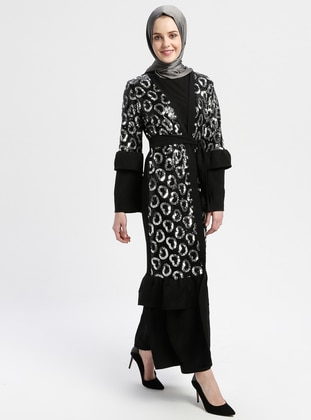 Black - Silver tone - Unlined - V neck Collar - Abaya