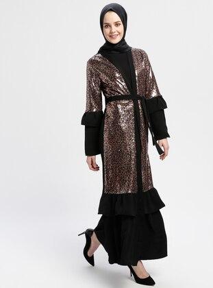 Black - Brown - Unlined - V neck Collar - Abaya
