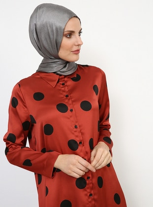 Black - Terra Cotta - Polka Dot - Point Collar - Tunic