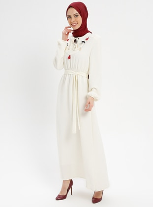 White - Ecru - V neck Collar - Fully Lined - Dresses