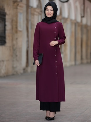 Plum - Unlined - Suit - Rabeysa