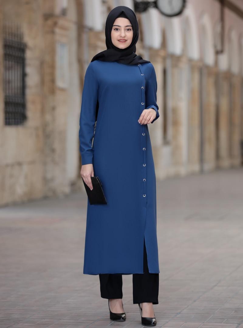 Tesettür Abiye Takım Rabeysa İndigo Kadın 44