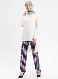 Navy Blue - Indigo - Stripe - Pants