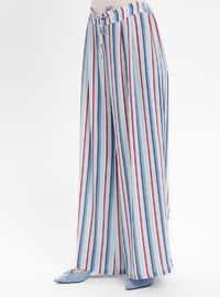 Blue - Navy Blue - Stripe - Pants