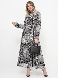 Siyah - Beyaz - Çok Renkli - Astarsız Kumaş - Fransız Yaka - Büyük Beden Elbise