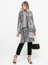 Black - White - Multi - Polo neck - Plus Size Tunic