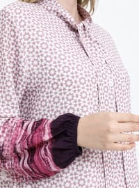 Purple - Lilac - Multi - Fully Lined - Polo neck - Plus Size Dress