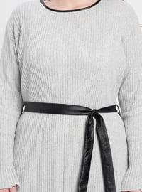 Gray - Crew neck - Unlined - Viscose - Plus Size Dress