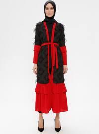 Black - Maroon - Unlined - V neck Collar - Abaya