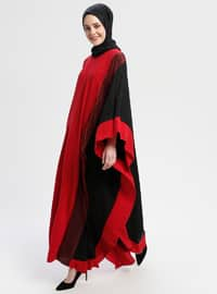 Black - Maroon - Unlined - Crew neck - Abaya