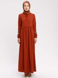 Terra Cotta - Crew neck - Unlined - Dresses