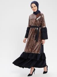 Navy Blue - Brown - Leopard - Unlined - Crew neck - Muslim Evening Dress