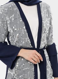 White - Navy Blue - Ecru - Unlined - V neck Collar - Abaya