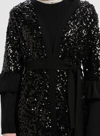 Black - Unlined - V neck Collar - Abaya