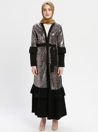 Black - Beige - Unlined - V neck Collar - Abaya
