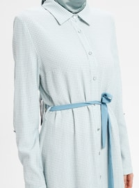 Blue - Checkered - Point Collar - Unlined - Dresses