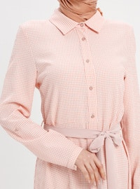 Salmon - Checkered - Point Collar - Unlined - Dresses