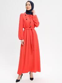 Coral - V neck Collar - Fully Lined - Dresses