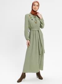 Green - V neck Collar - Fully Lined - Dresses