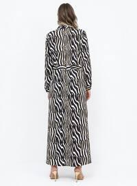Black - Yellow - Zebra - Unlined - Point Collar - Plus Size Dress