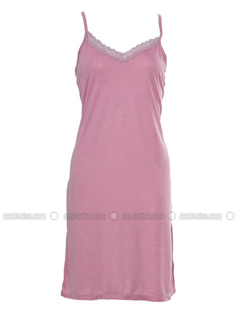 Pink - V neck Collar - Nightdress