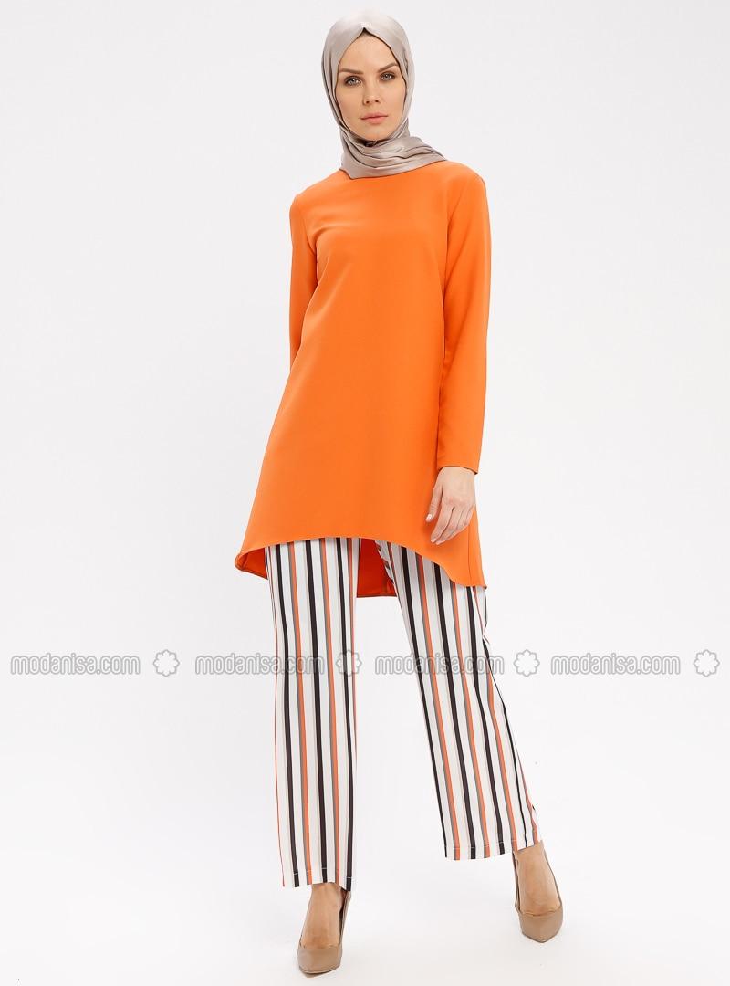 White - Orange - Ecru - Stripe - Pants