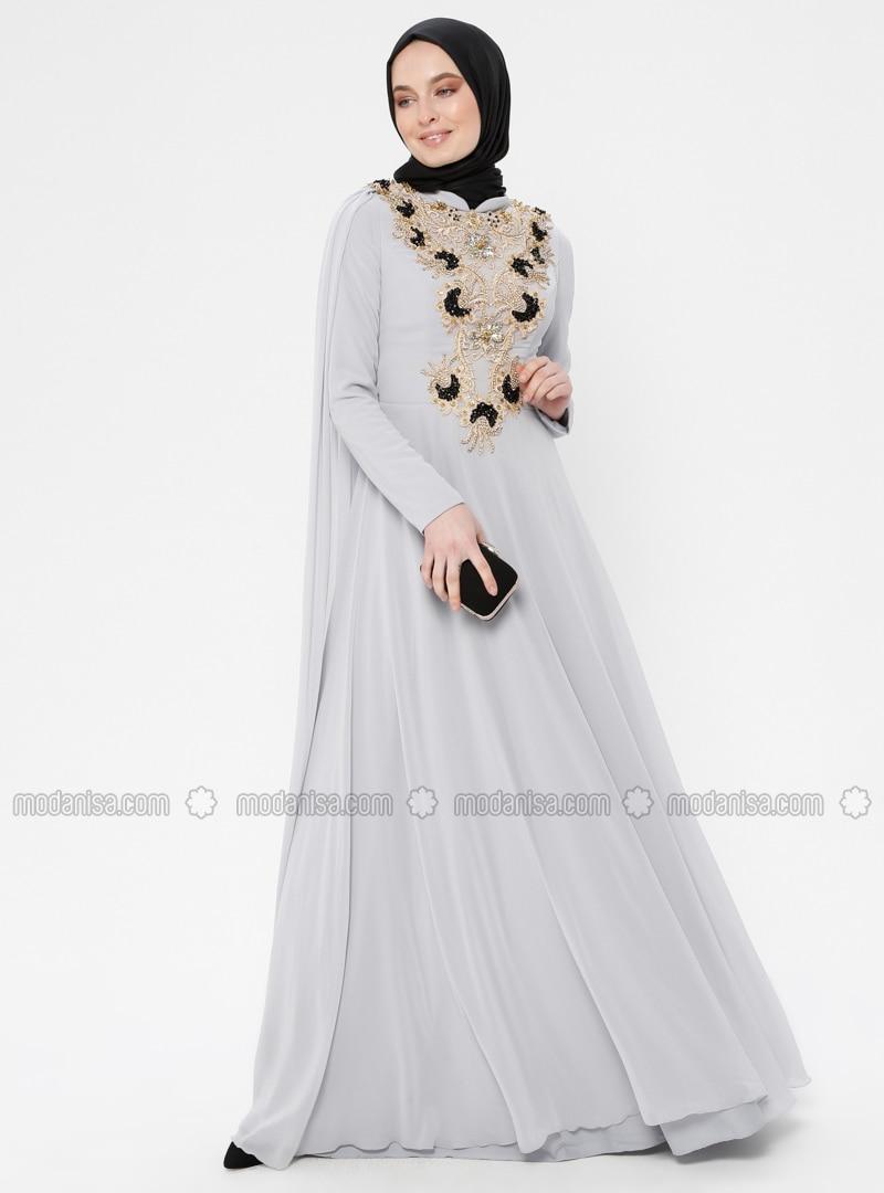 a4592f0f19ffb Boncuk İşlemeli Abiye Elbise - Gri Siyah