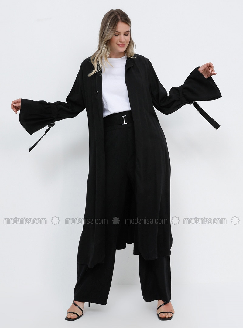 Black - Unlined - Cotton - Plus Size Coat