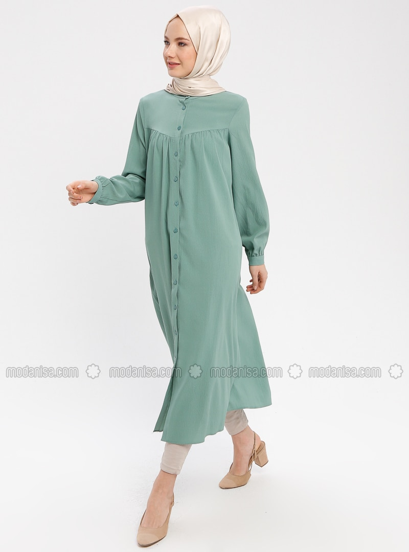 Green Almond - Button Collar - Tunic