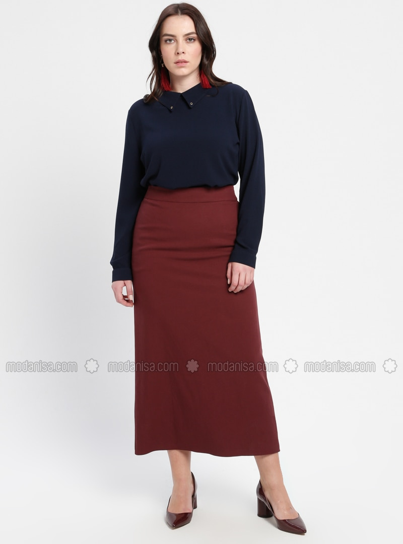 Maroon - Fully Lined - Plus Size Skirt