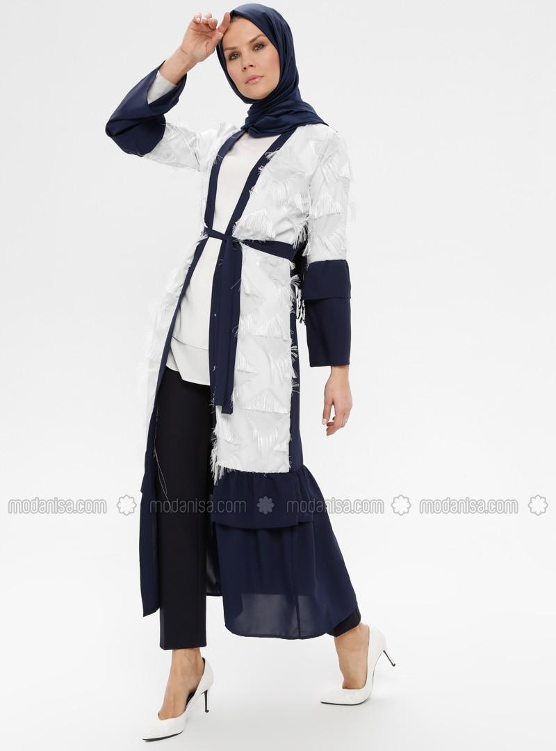 Navy Blue - Ecru - Unlined - V neck Collar - Abaya